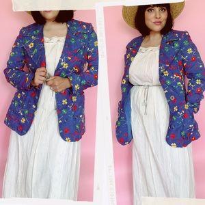 Vtg 70s Flower Power embroidered Blazer Jacket